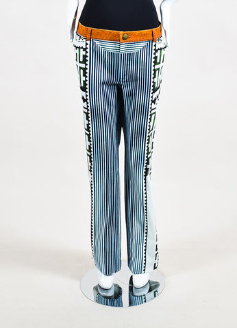 "Mary Katrantzou White, Blue, and Green Denim Mixed Print ""Colma"" Jeans  Frontview"