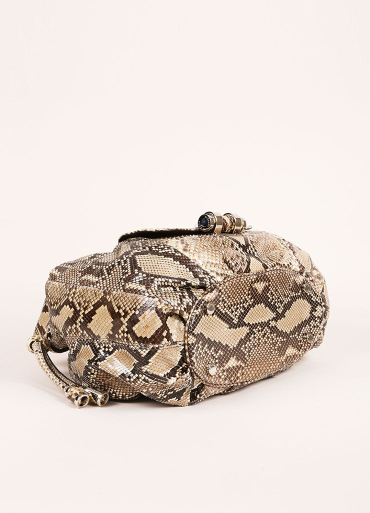 "Michael Kors Brown and Taupe Python ""Tonne"" Handbag Bottom View"
