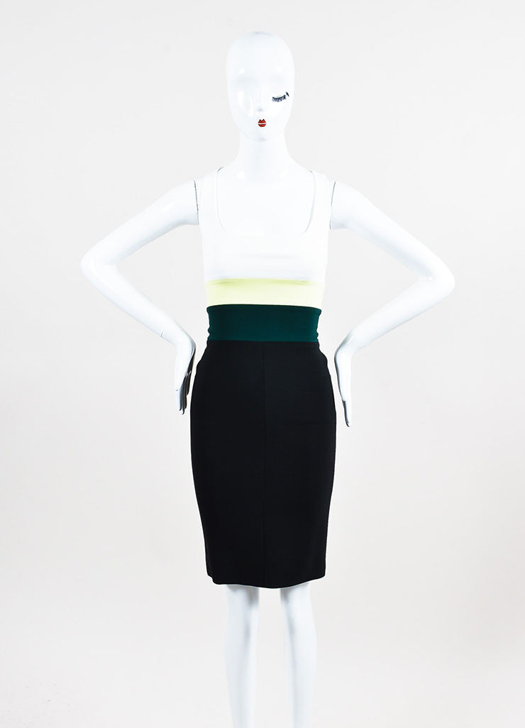 "Narciso Rodriguez Black, White, and Green ""Citrine"" Stripe Sleeveless Dress Frontview"