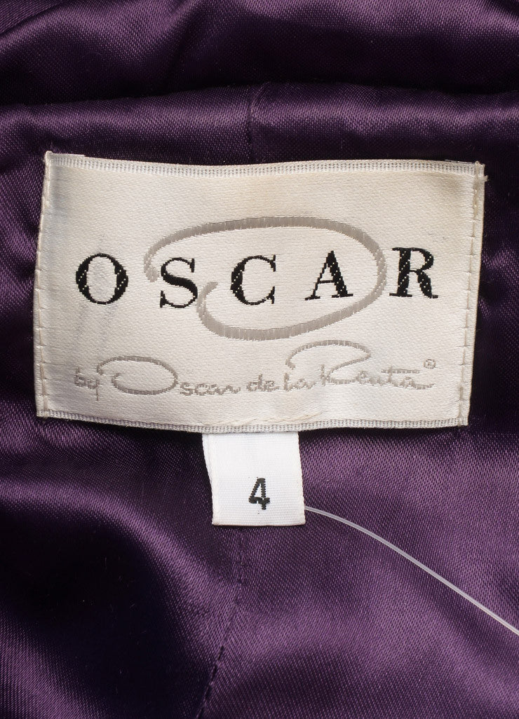 O Oscar de la Renta Purple and Black Fur Trim Belted Down Puffer Coat Brand