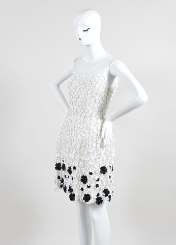 White and Black Oscar de la Renta Floral Applique Sleeveless Tulle Dress Sideview