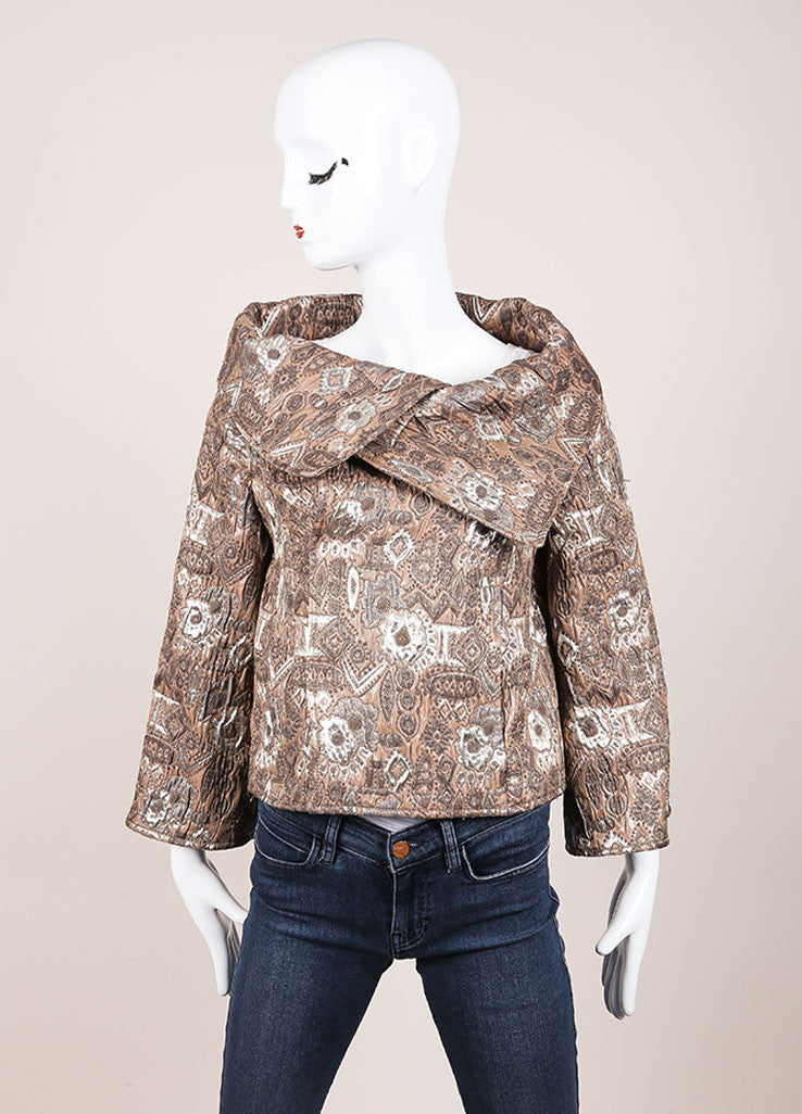 Oscar de la Renta Taupe and Metallic Silver Brocade Cropped Jacket Frontview