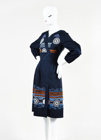 "Peter Pilotto Navy and Orange Embroidered ""Alethia"" Dress Sideview"