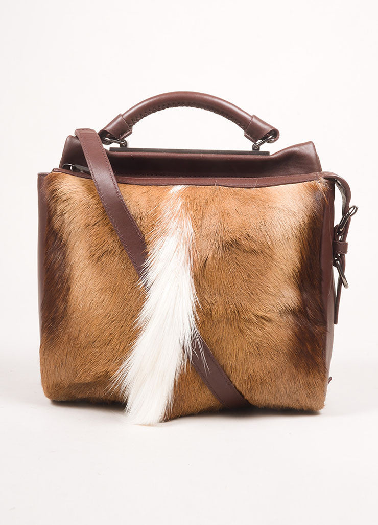 "3.1 Phillip Lim Brown Leather and Springbok Antelope Fur Small ""Ryder"" Satchel Bag Frontview"