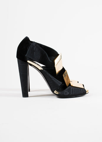 Pierre Hardy Black Velvet Cube Embellished Sandals Side