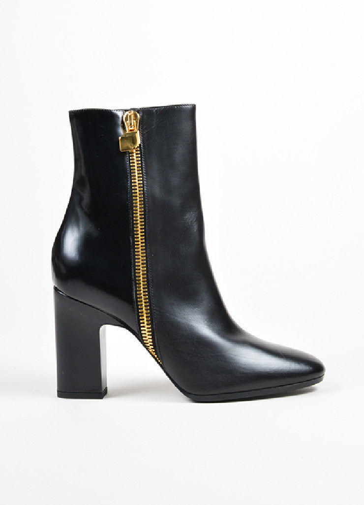 Pierre Hardy Black Leather Gold Toned Zip High Heel Ankle Boots Sideview