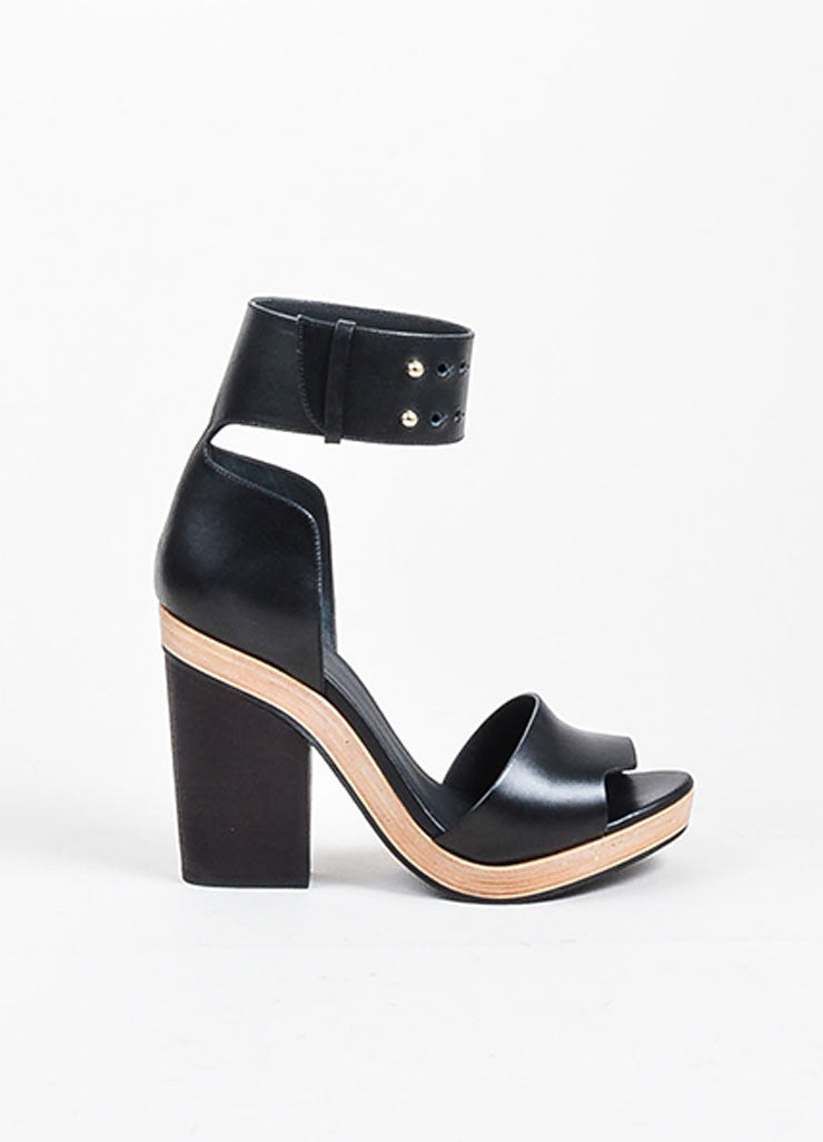 Pierre Hardy Black Leather Wooden Block Heel Sandals Sideview