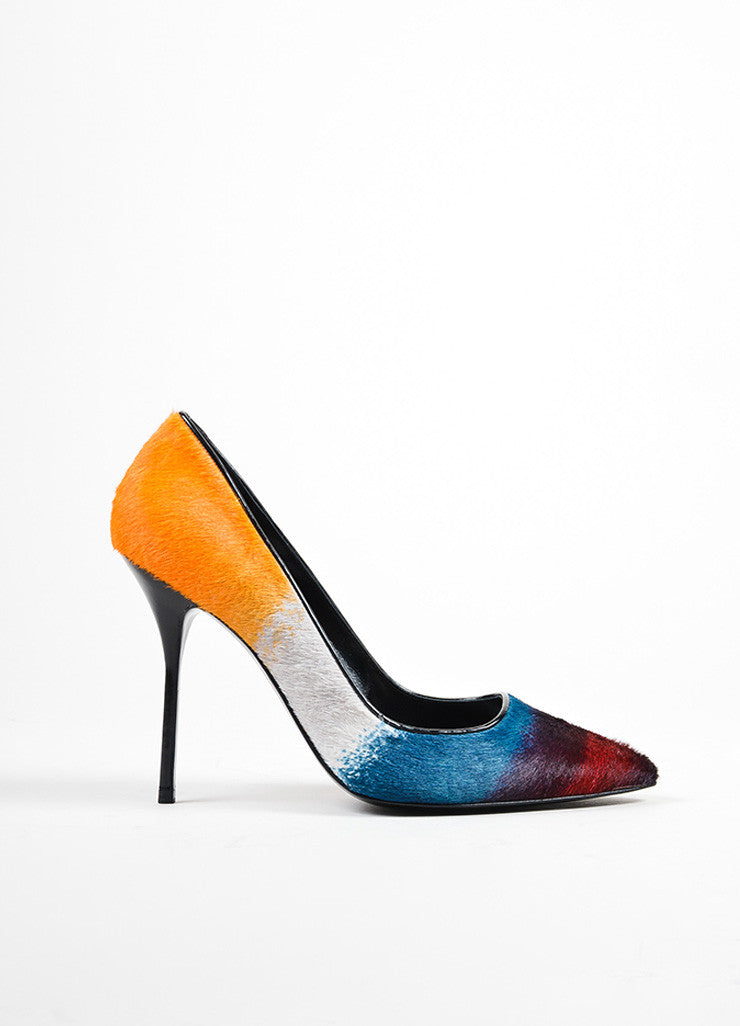 Multicolor Pierre Hardy Haircalf Pointed Toe Pumps Sideview