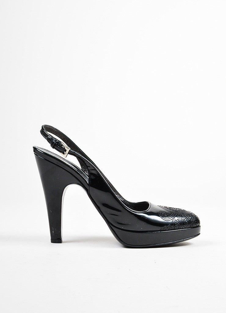 Black Prada Patent Embroidered Filigree Toe Slingback Heels Sideview