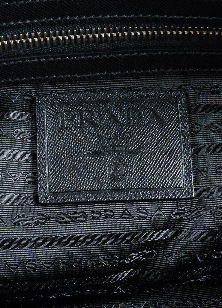Prada Black Nylon Leather Top Handle Zip Weekender Tote Bag Brand