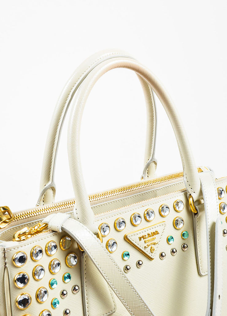 Prada Cream Saffiano Leather Rhinestone Stud Embellished Tote Handbag Detail 4