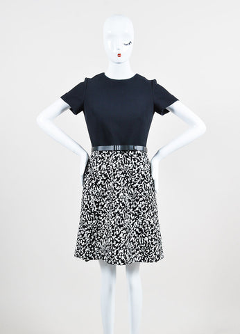 Black and White Proenza Schouler Crepe Boucle Belted Short Sleeve Dress Frontview