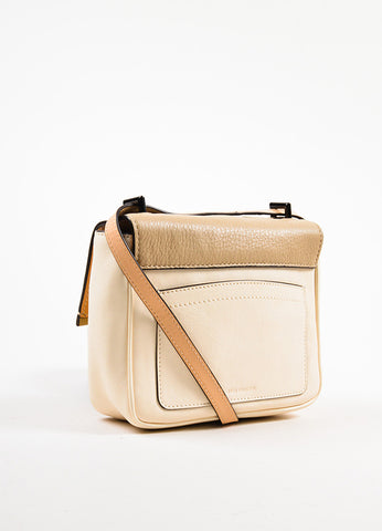 Reed Krakoff Cream, Yellow, and Taupe Leather Color Block Cross Body Bag Sideview