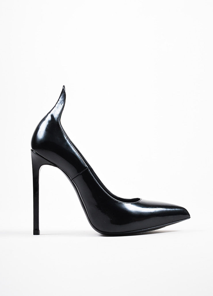 Saint Laurent Black Patent Leather Pointed Toe Pumps Sideview