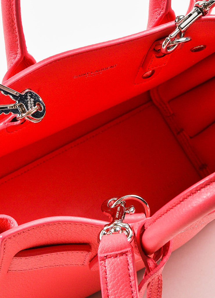 "Saint Laurent Pink Grain Leather ""Nano Sac de Jour"" Bag Detail 4"