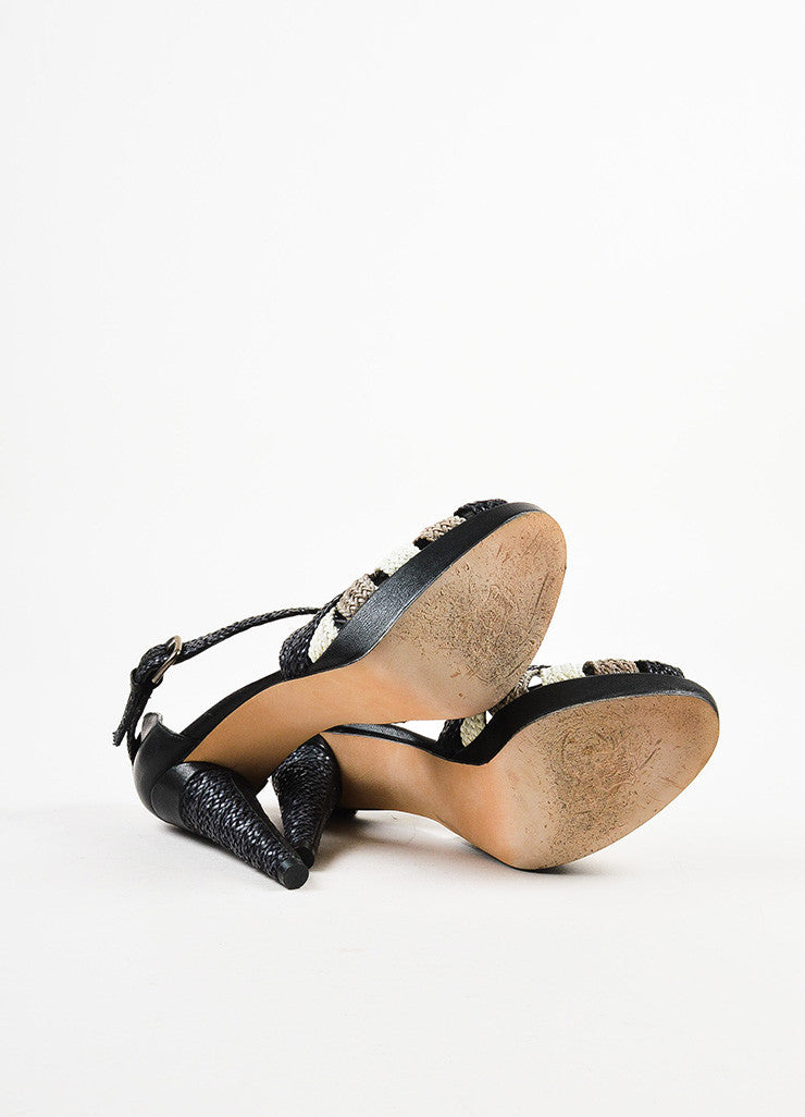 "Black Stuart Weitzman Woven Leather ""Bradford"" Sandals Sole"