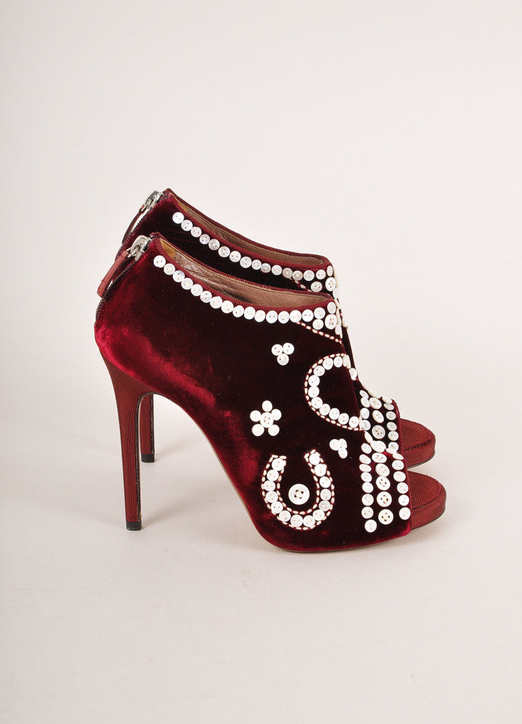 Tabitha Simmons Red Pearl Button Detail Velvet Peep Toe Ankle Booties Sideview