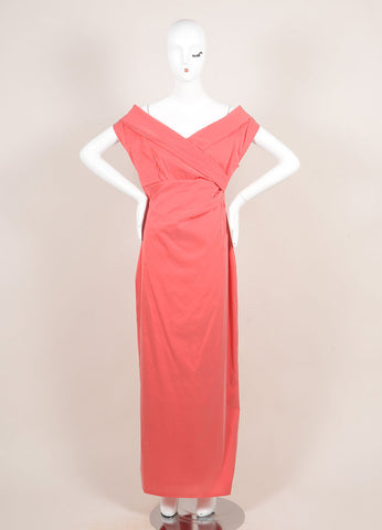 Talbot Runhof Coral Pink Silk Blend Taffeta Crossover Bust Sleeveless Gown Frontview