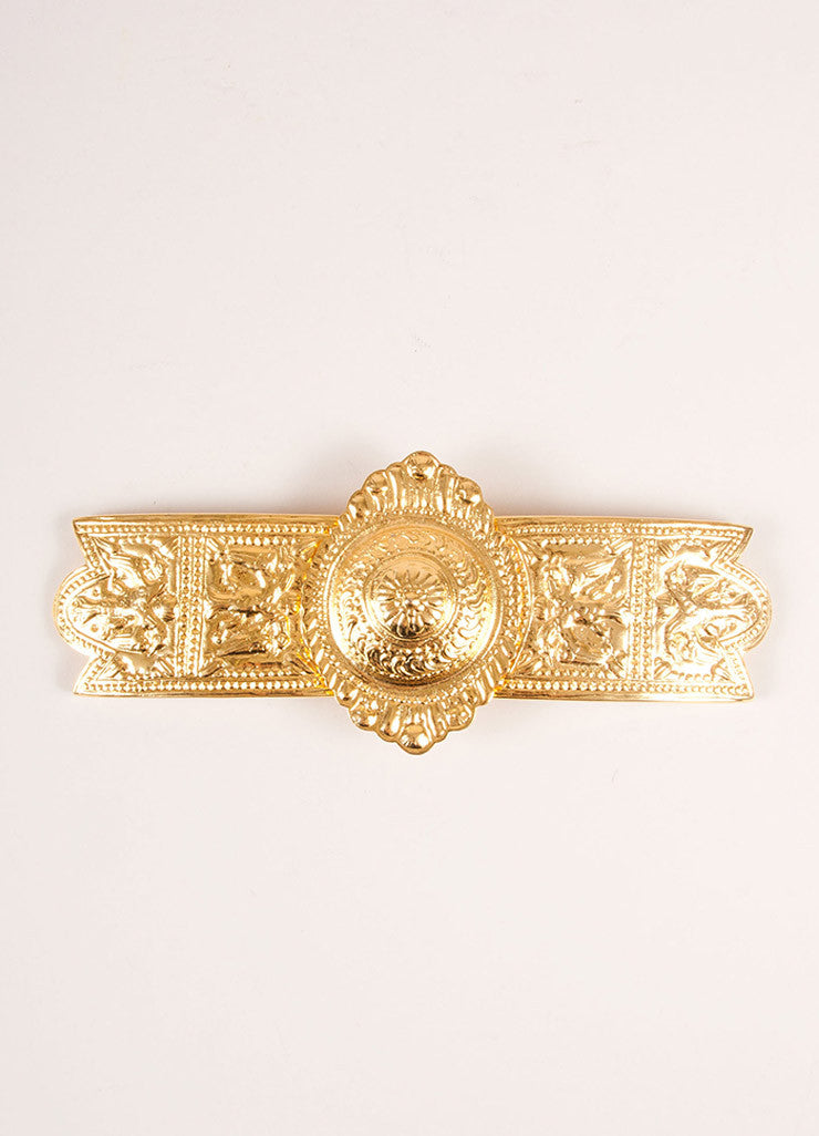 Alexis Kirk Gold Toned Decorative Bird Molded Oversized Belt Buckle Frontview