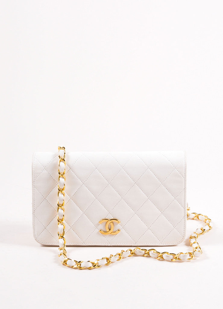 "Chanel Cream Leather Quilted ""CC"" Chain Strap Shoulder Bag Frontview"