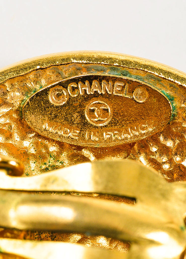 Gold Toned Chanel Star '1990' Clip On Button Earrings Brand
