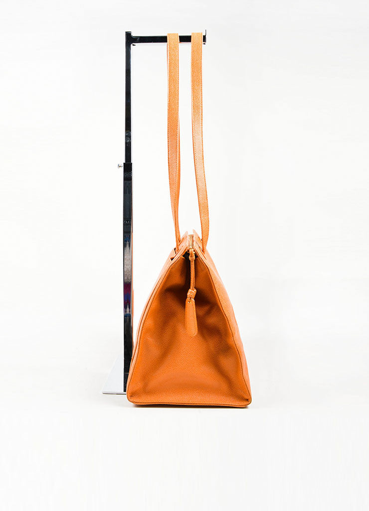 "Cognac and Orange Chanel Large ""CC"" Caviar Square Tote Bag Sideview"