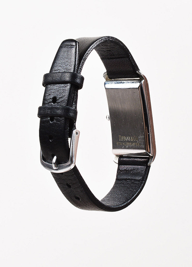 Tiffany & Co. Black Leather Quartz & Stainless Steel Rectangular Watch Back