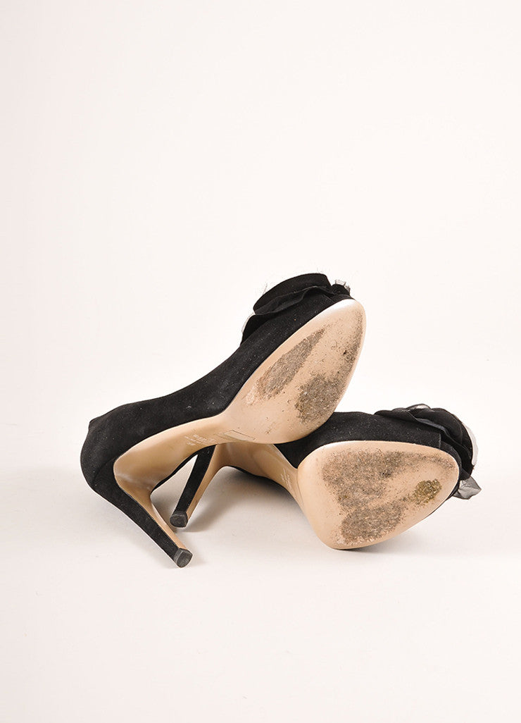 Valentino Black Suede Leather Chiffon Rosette Embellished Peep Toe Pumps Outsoles