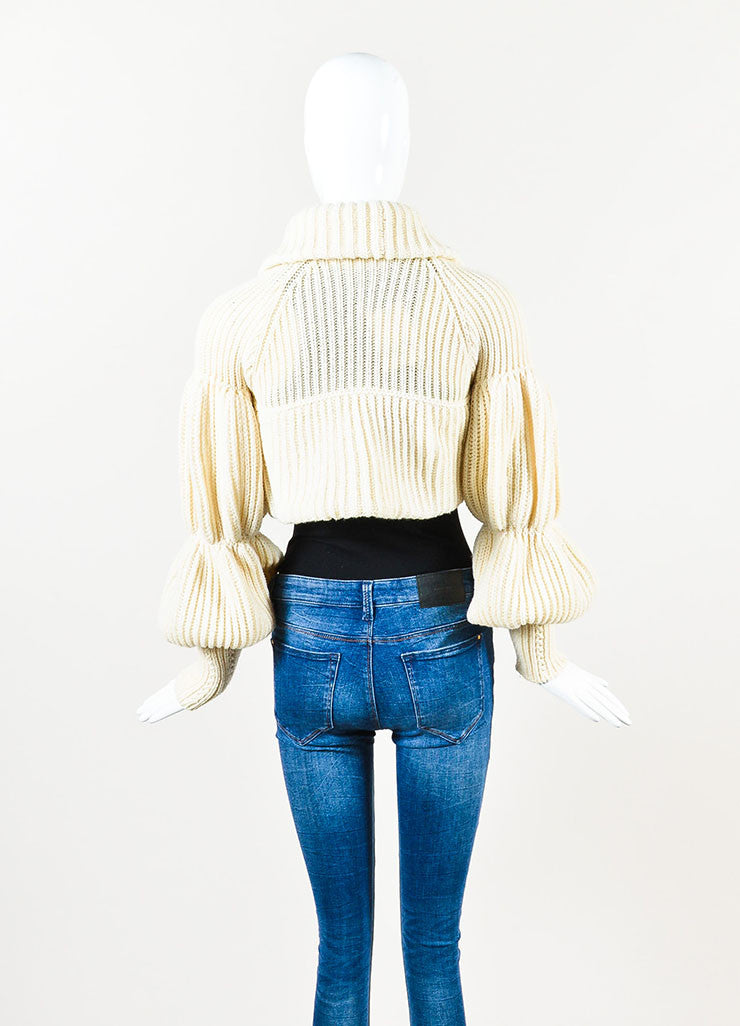 Valentino Cream Cashmere and Wool Knit Puff Sleeve Shrug Sweater Backview