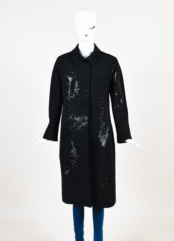 Valentino Roma Black Wool Feather Sequin Embellished Coat Frontview 2