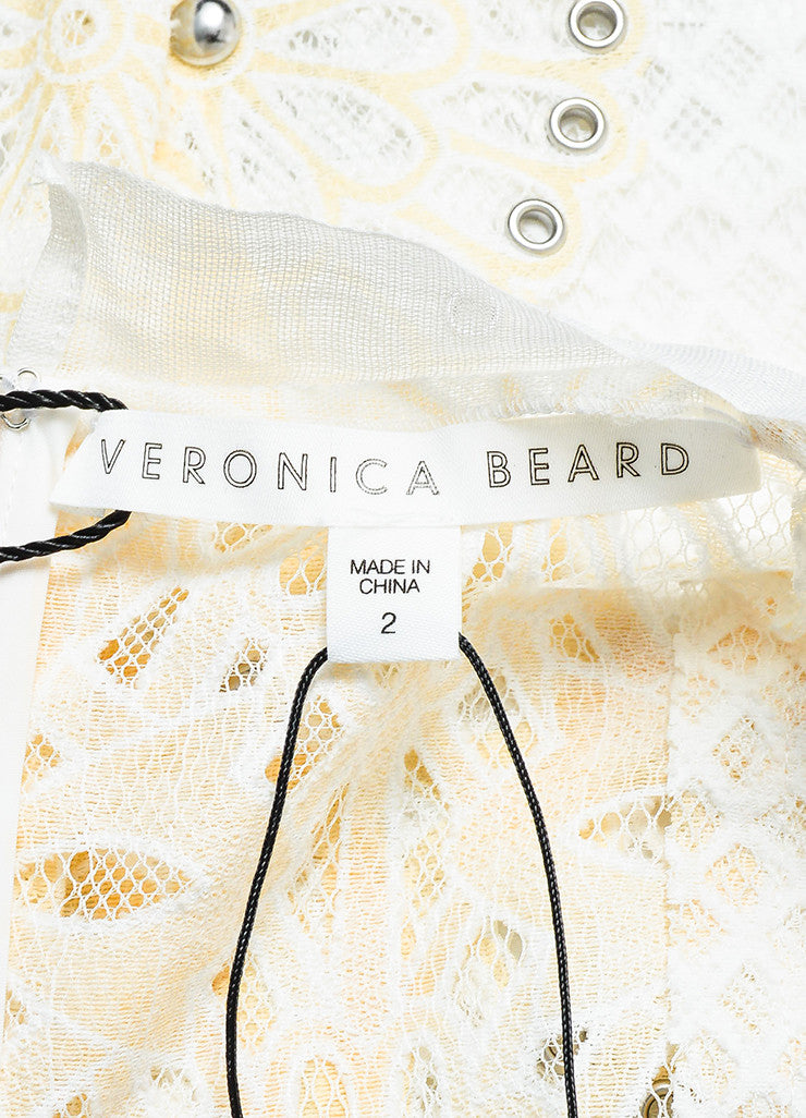 "Veronica Beard Cream and White Eyelet Lace Studded ""Evita"" Dress brand"