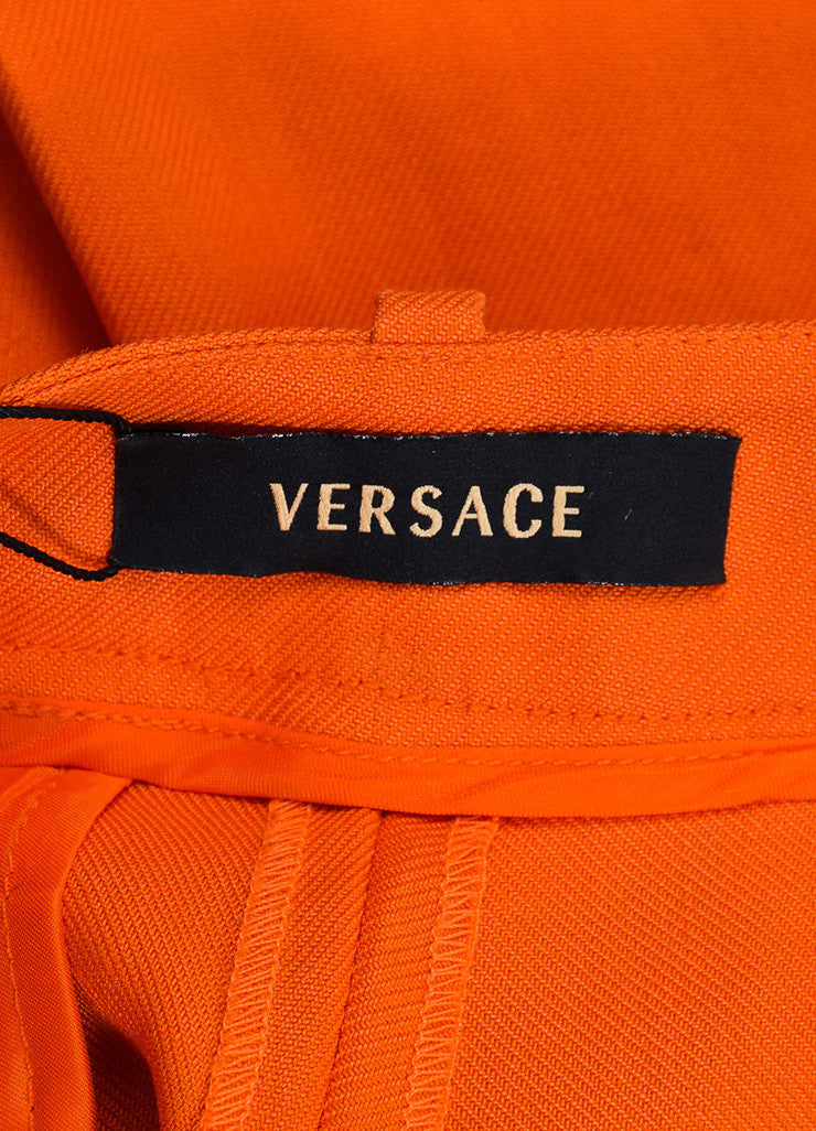 Bright Orange Versace Ramie High Waist Long Cut Cuffed Bermuda Shorts Brand