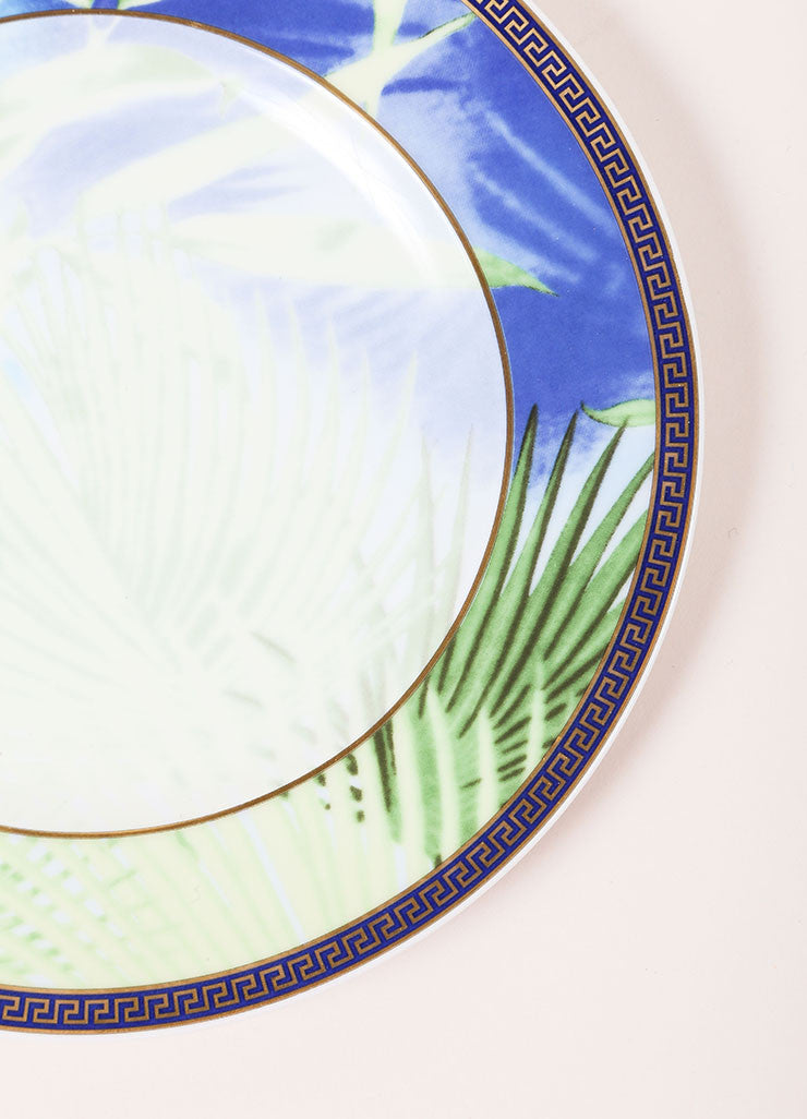 "Versace Rosenthal Green and Blue ""Jungle"" 7 inch Bread and Butter Plate Detail"