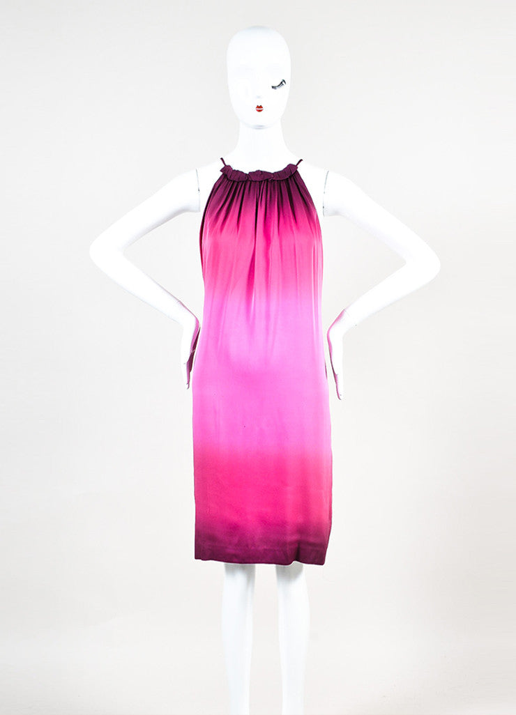 Vince Pink Silk Gradient Sleeveless Gathered Round Neckline Shift Dress Frontview