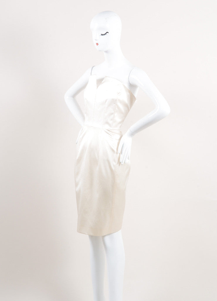 Yves Saint Laurent New With Tags Cream Silk Satin Corset Strapless Dress Sideview