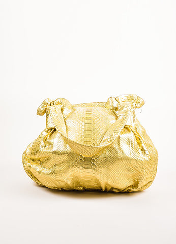 Zagliani Gold Metallic Genuine Python Dual Handle Hobo Bag Frontview