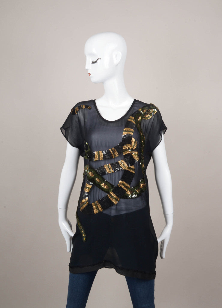 New With Tags Sheer and Sequin Snake Pattern Top