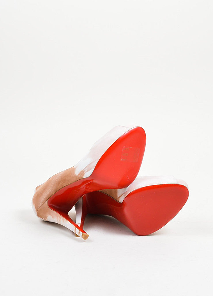 "Tan and Blush Print Suede Christian Louboutin ""Very Prive Woodstock"" Heels Outsoles"