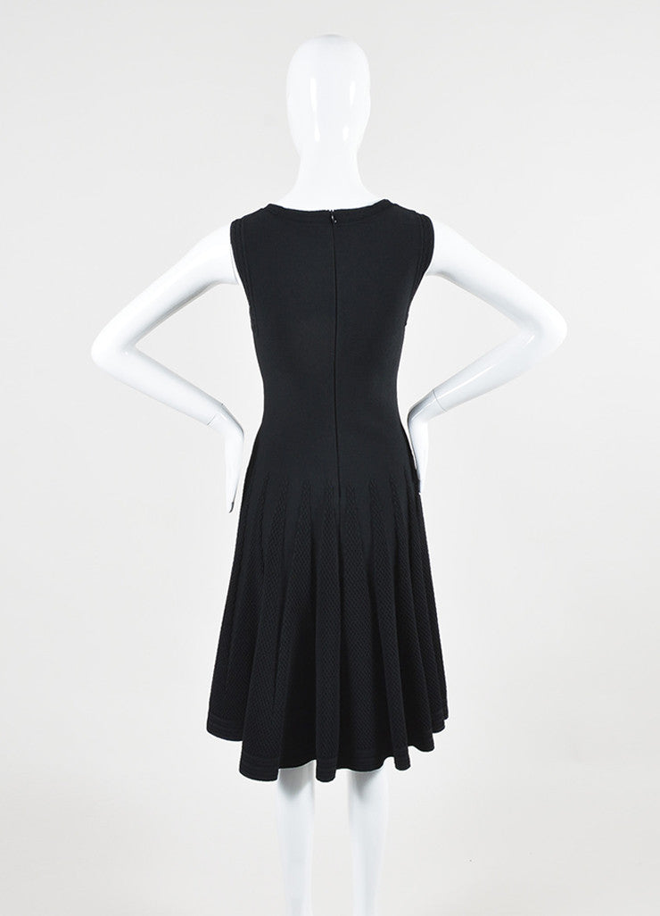 Alaia Black Stretch Textured Scoop Neck A-Line Sleeveless Dress Backview