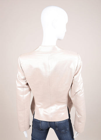 Alexander McQueen Beige and Silver Metallic Cotton and Wool Long Sleeve Blazer Backview