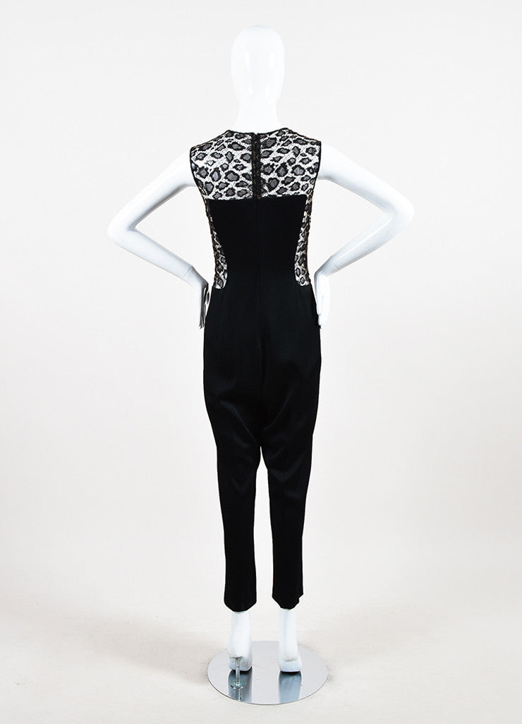 Alexander McQueen Black Crepe and Lace Leopard Patterned Inset Jumpsuit Backview