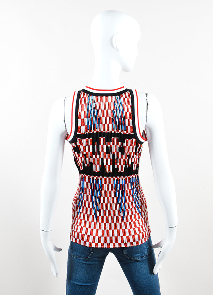 Red and White Smocked Pleated Checkered Sleeveless Top back