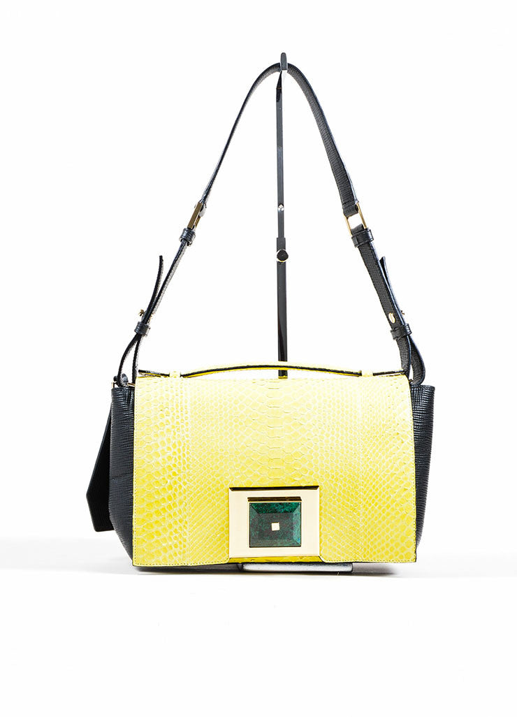Yellow and Black Andrew Gn Snakeskin Leather Marble Stone Flap Bag Frontview