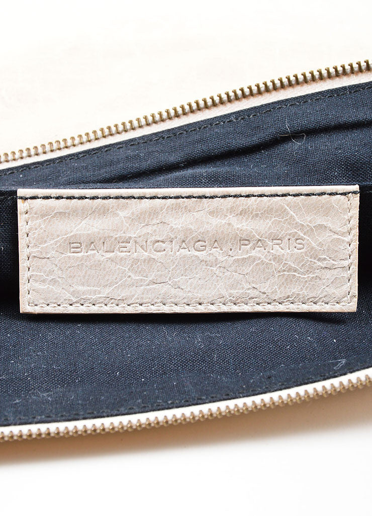 Beige Leather Balenciaga Motocross Clutch Brand