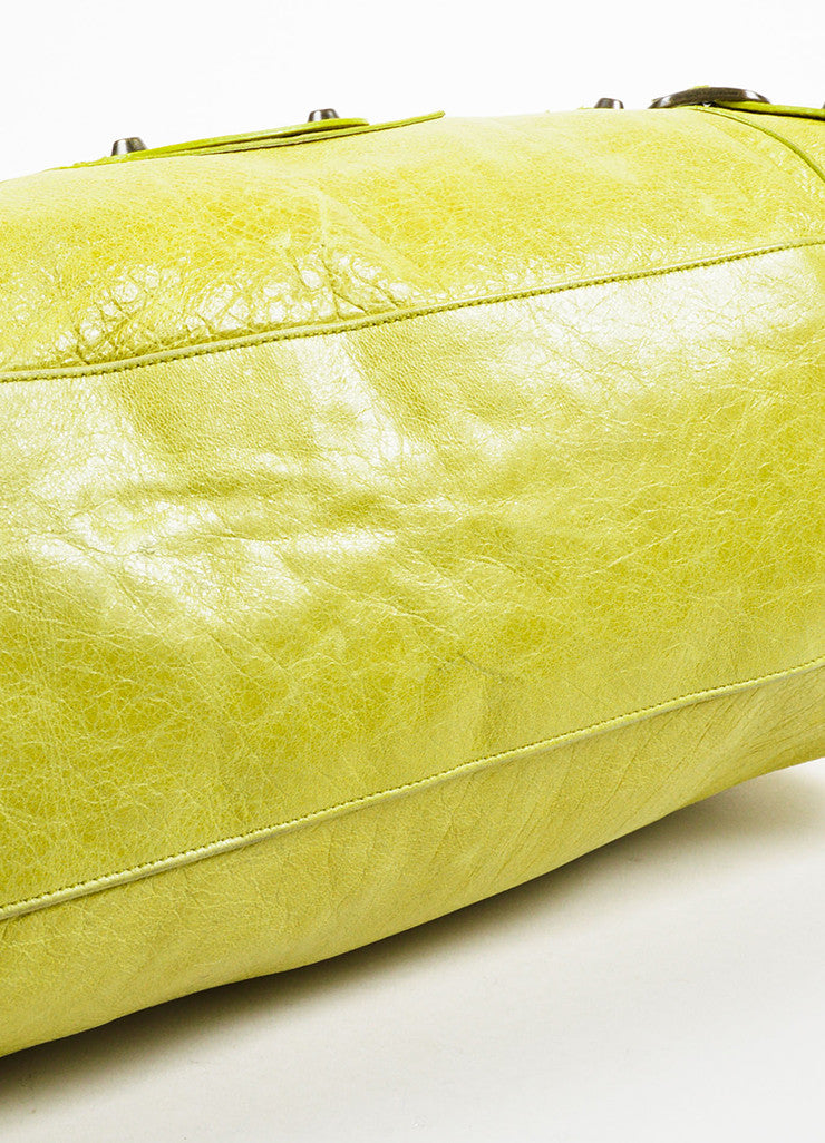 Lime Green Balenciaga Leather Pompon Studded Twiggy Bag Detail 1