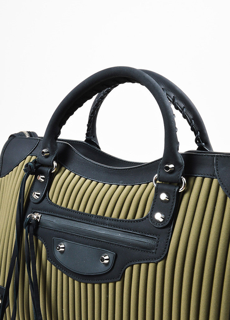"Balenciaga Black and Olive Green Neoprene Leather ""Classic City"" Bag Detail 2"