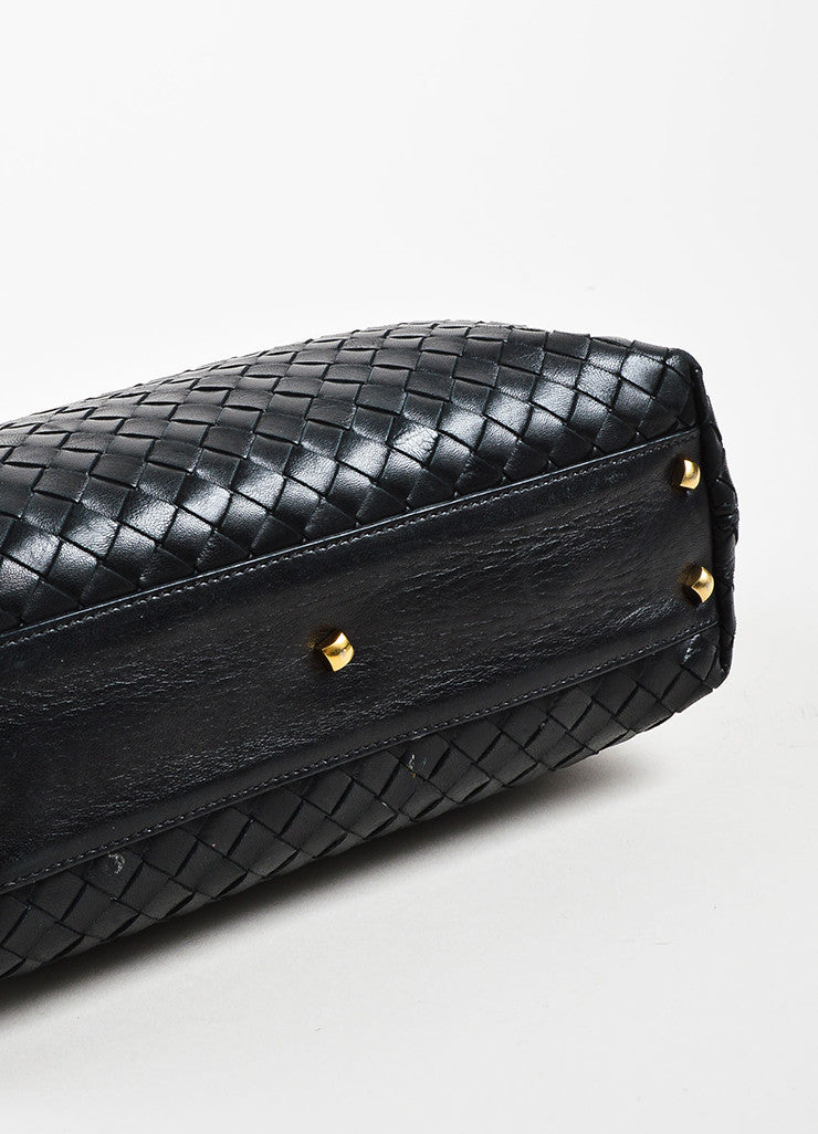Bottega Veneta Black Leather Intrecciato Woven Handbag Bottom View