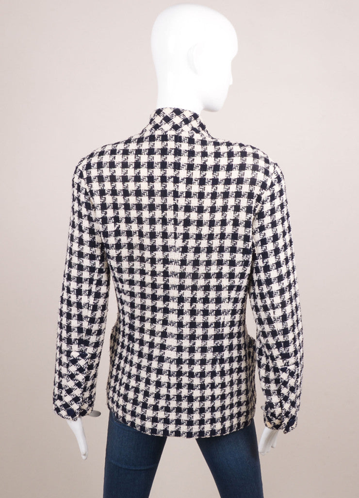Chanel Navy and Cream Woven Check Button Up Jacket Backview