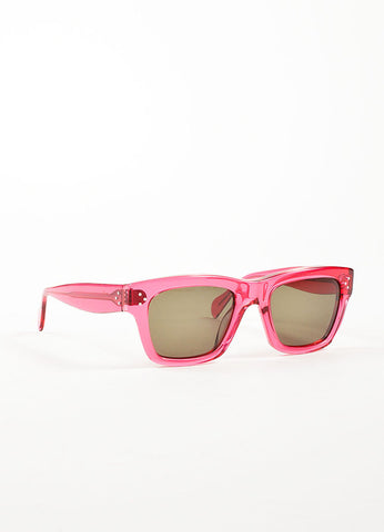 "Celine Hot Pink Translucent Square Frame ""CL 41732"" Sunglasses Sideview"