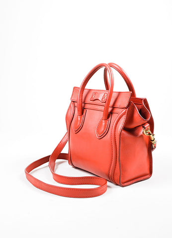"""Lipstick"" Red Celine Leather ""Nano Shopper"" Crossbody Tote Bag Sideview"
